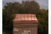 "Copper Regal with 6"" Copper Beauty Strips attached to the existing Chase Pan. Aelite Chimney Specialties,  Installed in Algonquin, IL"
