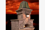 #6 Emperor in Patina'd (aged) Copper atop a custom pizza oven from Harmony Outdoor Living
